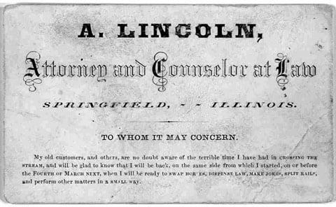 Carte de visite d'Abraham Lincoln